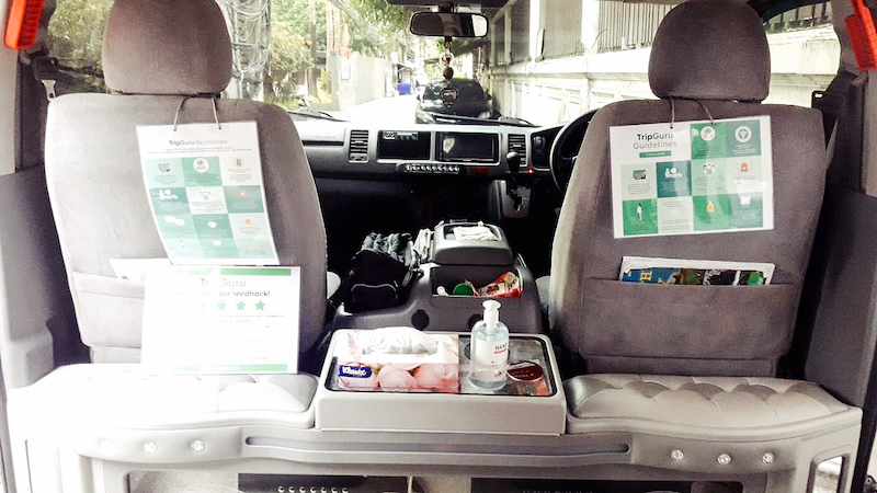 Fully disinfected TripGuru vehicle with sanitation items (e.g. tissues, alcohol, etc.)